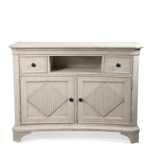 Aberdeen Media Chest Weathered Worn White finish