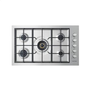 "Fisher & PaykelGas on Steel Cooktop 36"" 5 Burner, Flush Fit"