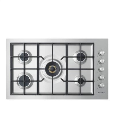"Gas on Steel Cooktop 36"" 5 Burner, Flush Fit Product Image"