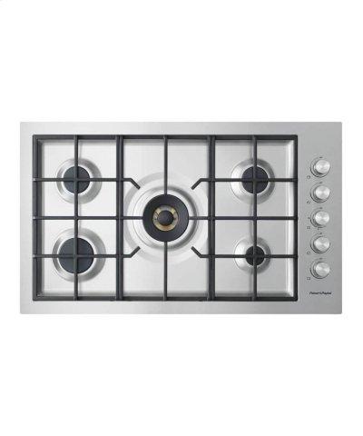 "Gas on Steel Cooktop 36"" 5 Burner, Flush Fit Product Image"