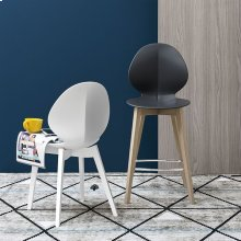 Polypropylene and wooden stool