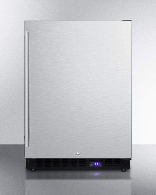 Frost-free Outdoor All-freezer for Built-in or Freestanding Use With Black Cabinet, Stainless Steel Door, Digital Thermostat, LED Lighting, and Lock