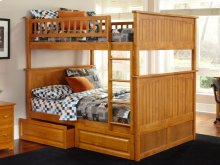 Nantucket Bunk Bed Full over Full with Raised Panel Bed Drawers in Caramel Latte