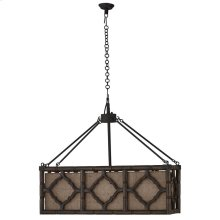 Chinois Rectangle Chandelier w/ Jute