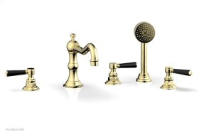 HENRI Deck Tub Set with Hand Shower with Marble Handles 161-50 - Polished Brass