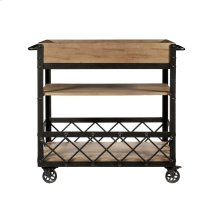 Rolling Bar Cart-Distressed Blonde Finish