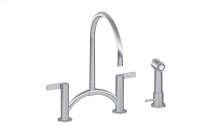 Terra Contemporary Bridge Kitchen Faucet with Independent Side Spray
