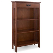 Mission Oak Mantel Height 3-Shelf Corner Bookcase with Drawer Storage #82263
