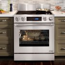 """Distinctive 30"""" Slide-In Electric Range, in Stainless Steel, with Flush Handle, and 3-1/4"""" Side Panels Product Image"""
