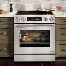 "Distinctive 30"" Slide-In Electric Range, in Stainless Steel, with Epicure® Style Handle in Stainless Steel with Chrome Trim, and 3-1/4"" Side Panels"