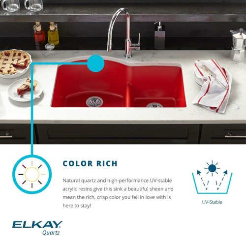 "Elkay Quartz Luxe 33"" x 22"" x 10"", Offset 60/40 Double Bowl Drop-in Sink with Aqua Divide, Silvermist"
