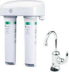 GE® Twist and Lock Under Counter Dual Stage Water Filtration System (VOCs)