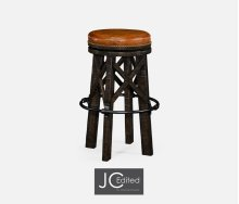 Country Style Dark Ale & Iron Bar Stool with Dark Antique Chestnut Leather