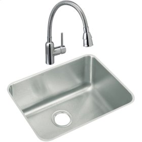 """Elkay Lustertone Classic Stainless Steel 23-1/2"""" x 18-1/4"""" x 10"""", Single Bowl Undermount Sink and Faucet Kit"""