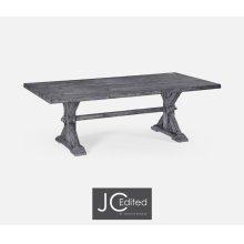 "90"" Solid Antique Dark Grey Dining Table"