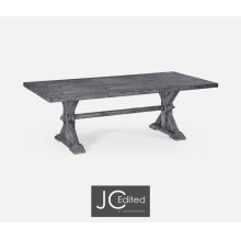 "90"" Solid Antique Dark Grey Dining Table"