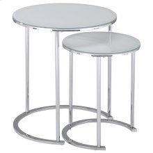 Oslo 2pc Accent Table set in Chrome & White