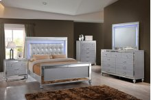 6 PC Bedroom - Queen Bed, Dresser, Lighted Mirror, Nightstand