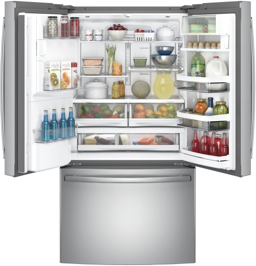 RED HOT BUY! GE Profile™ Series ENERGY STAR® 22.2 Cu. Ft. Counter-Depth French-Door Refrigerator with Hands-Free AutoFill