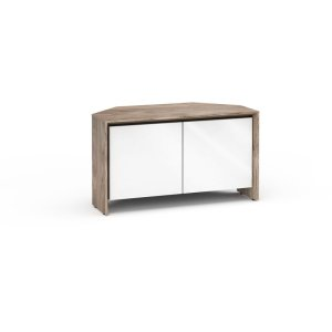 Salamander DesignsBarcelona 221, Twin-Width Corner Cabinet, Natural Walnut with White Gloss Doors