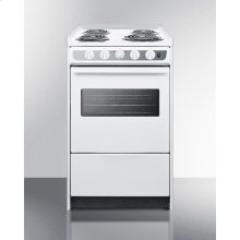 """Slide-in Electric Range In Slim 20"""" Width, With White Porcelain Construction and Oven Window"""