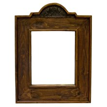 Landscape Mirror W/Tooled Leather
