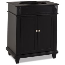 "28-7/8"" vanity with sleek black finish, clean lines and tapered feet."