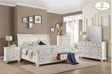 Queen Sleigh Platform Bed with Footboard Storage