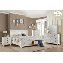 Eastern King Sleigh Platform Bed with Footboard Storage