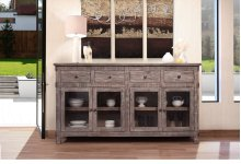 4 Drawer, 4 glass door console - Grey finish