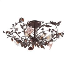 Cristallo Fiore 3-Light Semi Flush in Deep Rust with Clear and Amber Florets