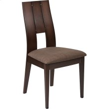 Emerson Espresso Finish Wood Dining Chair with Curved Slat Keyhole Back and Golden Honey Brown Fabric Seat