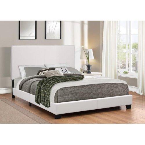 Mauve Upholstered Platform White Queen Bed