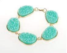 BTQ Teal Stones on Gold Bracelet