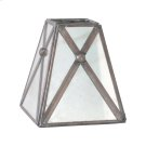 Antique Mirror Square Chandelier Shade With Crosshatch DETAIL. Product Image
