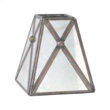 Antique Mirror Square Chandelier Shade With Crosshatch DETAIL.