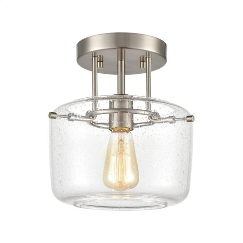 Jake 1-Light Semi Flush Mount in Satin Nickel with Seedy Glass