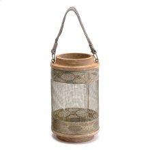 Wood Lantern Sm Gray