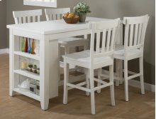 Madaket Reclaimed Pine Counter Height Table With Four Slat Back Stools