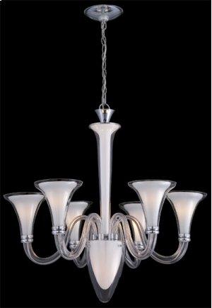 6/1-lite Chandelier, Frost&clear Glass, E12 B 60wx6+15w
