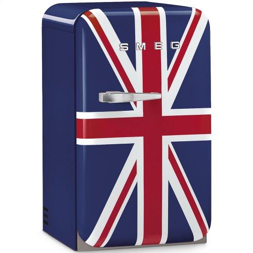 50's Retro Style Mini Refrigerator, Union Jack, Right hand hinge