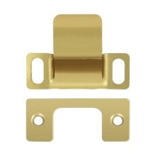 "Strike Plate, Dust Cup, Adjustable, 2-3/4"" x 1-1/4 - Polished Brass"