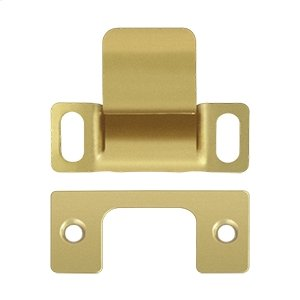 """Strike Plate, Dust Cup, Adjustable, 2-3/4"""" x 1-1/4 - Polished Brass"""