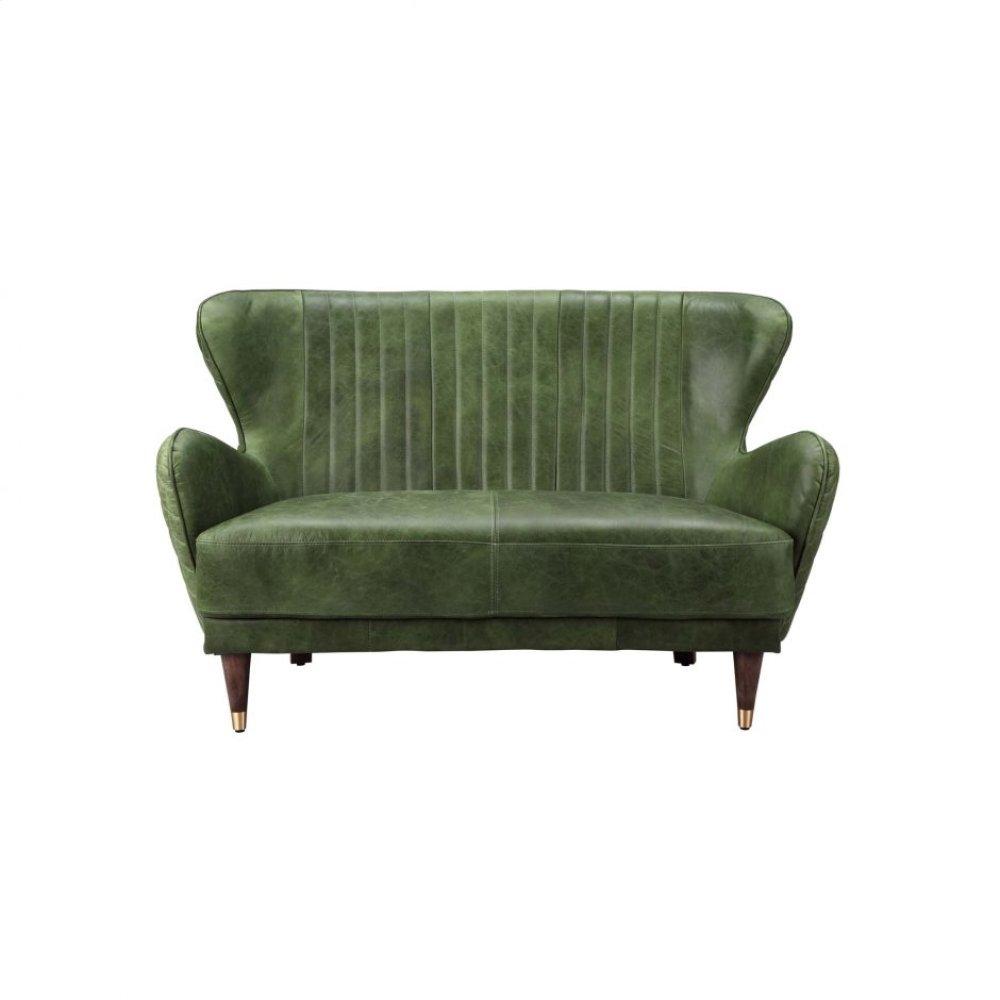 Keaton Leather Loveseat Emerald