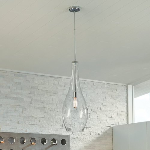 Everly 1 Light Teardrop Pendant Chrome with Clear Glass