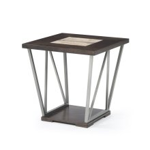 Emerald Home North Bay End Table Wood & Tile Top, Silver Gray Metal Legs T526-01