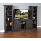 "Charred Oak Barn Door TV Console Dimensions : 65"" X 18.5"" X 35""h Product Image"