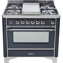 Matte Graphite with Chrome trim - Majestic 36-inch Range with 6-Burner