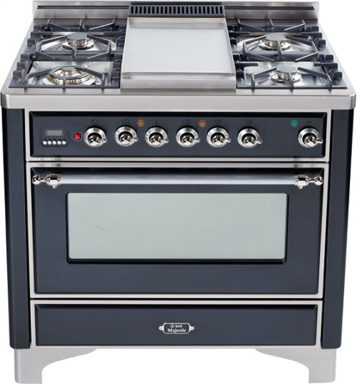Matte Graphite with Chrome trim - Majestic 36-inch Range with Griddle