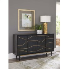 Modern Graphite and Brass Accent Cabinet